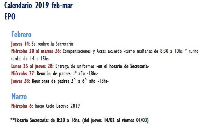 Calendario feb-mar 2019